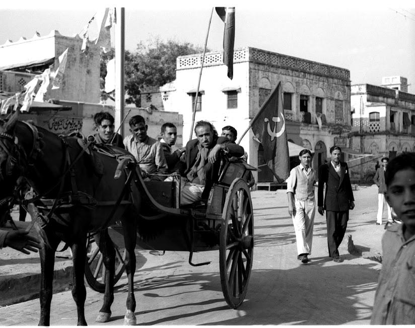 General Election Scenes in Delhi (Jan. 1952).Communist elecltion campaigners in Karol Bagh, a suburban area of Delhi, make use of Tonga.
